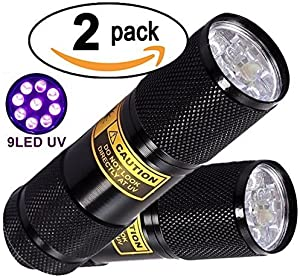 Bright Eyes 2-PACK - Best Black Light - Top UV Pet Urine Stain Detector - Head Lice or Bed Bug Revealer (Aluminum, 9 LED)