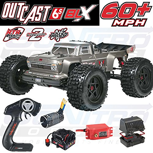 ARRMA Outcast BLX Brushless 4WD RC Stunt Truck RTR (6S Lipo Battery Required) with 2.4GHz Radio | 1:8 Scale (Silver)