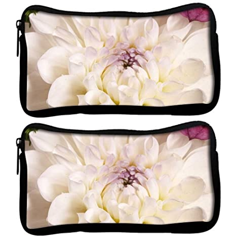 Snoogg Pack De 2 Flor Blanca Dahlia – Funda de tela estudiante pluma lápiz caso bolsa
