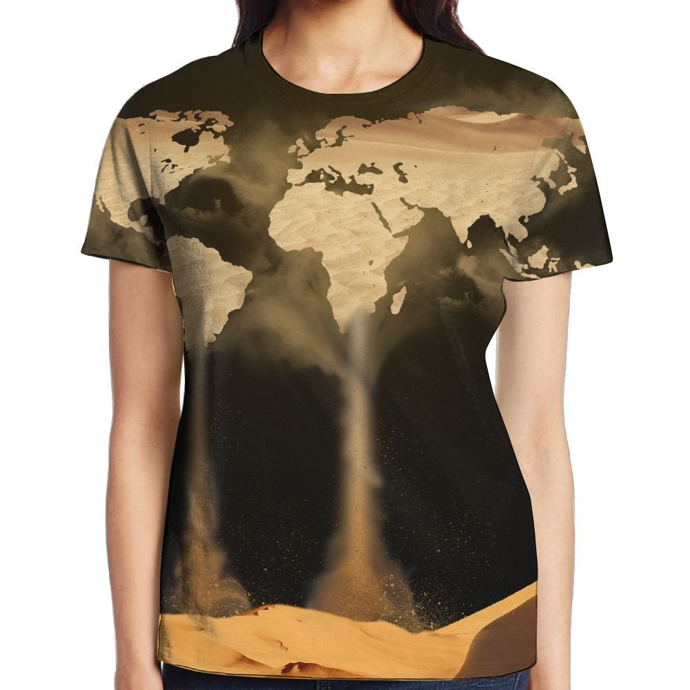 World Map Women Sport Graphic Tee Crew Neck T-Shirt by XIA WUEY