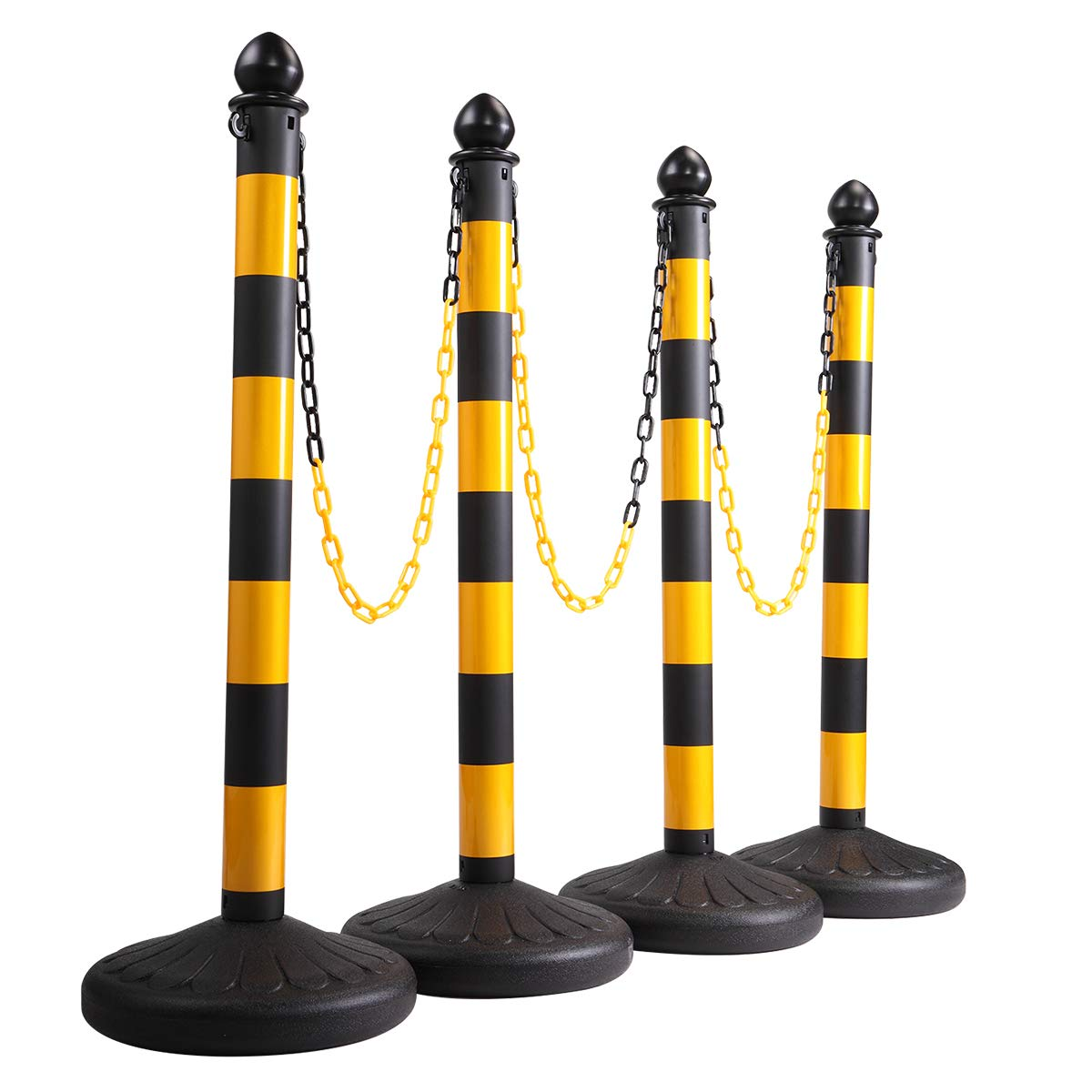 neotheroad Plastic Stanchion Posts Set Queue Line Safety Barrier 4 PCs with 39.4'' Chain by neotheroad