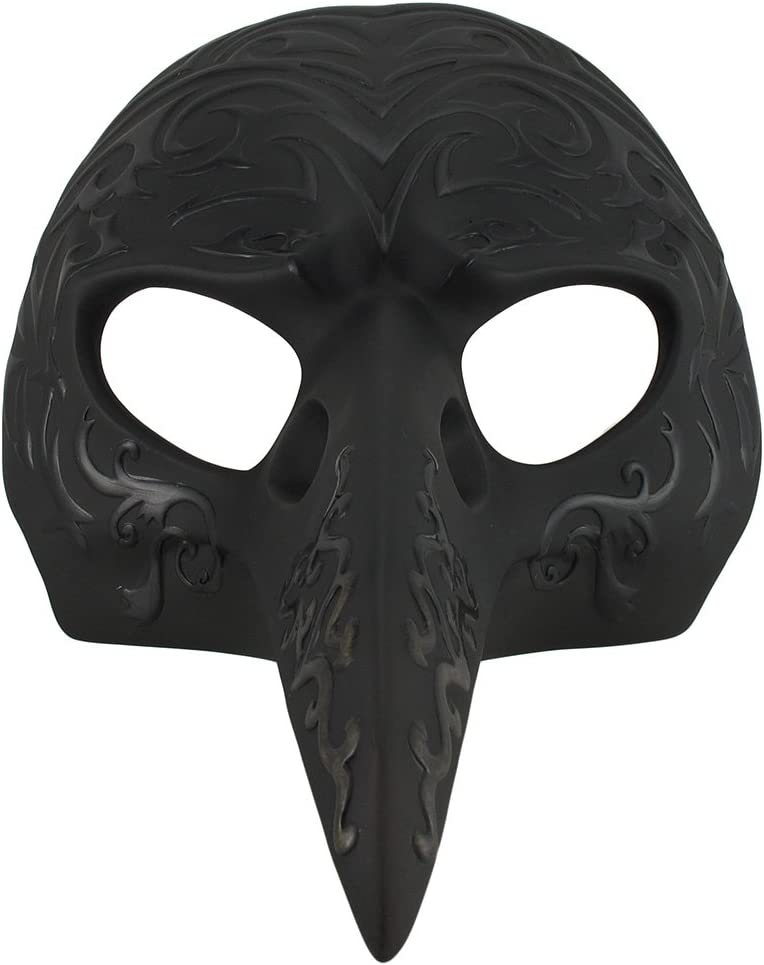 Veronese Resin Wall Sculptures Black Patterned Crow Beak Carnival Mask Wall Hanging 8.5 X 5 X 6.5 Inches Black