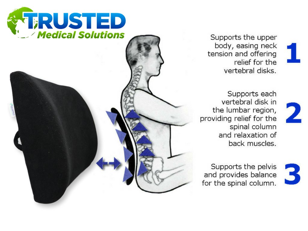 Trusted XL Back Lumbar Support Pillow - ★ Won't Flatten 100% Pure Memory Foam ★ - Posture Cushion Pain Relief for Office, Car, Home, Travel - Removable Attach Anywhere Extendable Straps (Black) by Trusted Medical Solutions (Image #4)