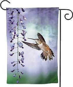 C COABALLA Tin Hummingbird Over of Purple Wisteria Vertical ima Hummingbird,Welcome Garden Flag Garden Yard Banner Lawn Outdoor Decoration Wisteria 28''x40''