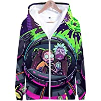 3D Printed Hoodie, Rick and Morty Unisex 3D Printed Anime Sweatshirt with Large Pocket Zipper Jacket