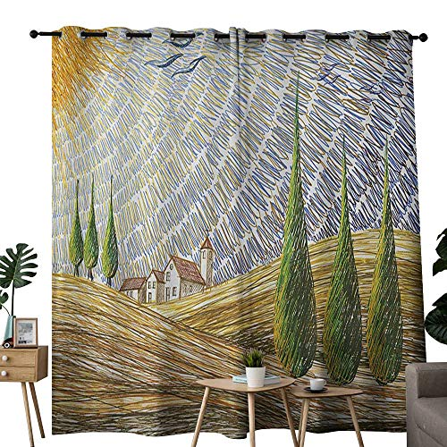 NUOMANAN Window Curtains Italian,Van Gogh Style Italian Valley Rural Fields with European Scenery Painting Print, Multicolor,Tie Up Window Drapes Living Room 84