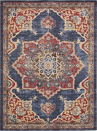 (Unique Loom Utopia Collection Traditional Medallion Vintage Warm Tones Dark Blue Area Rug (9' 0 x 12')