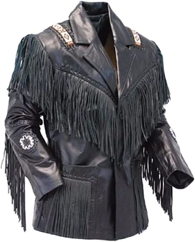 NorthernFinch Mens Cowboy Slimfit Leather Jacket with Fringes