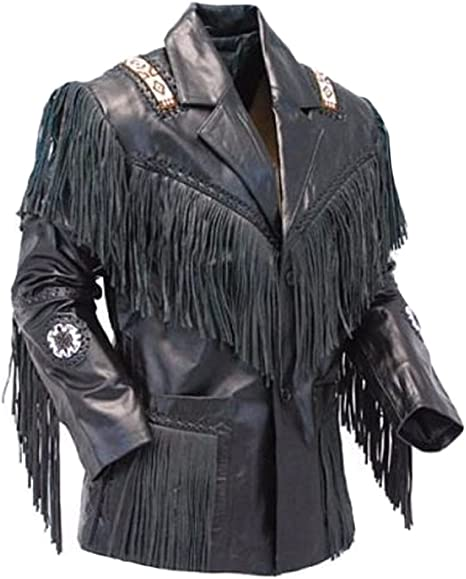 Classyak Mens Western Fringed Real Leather Jacket