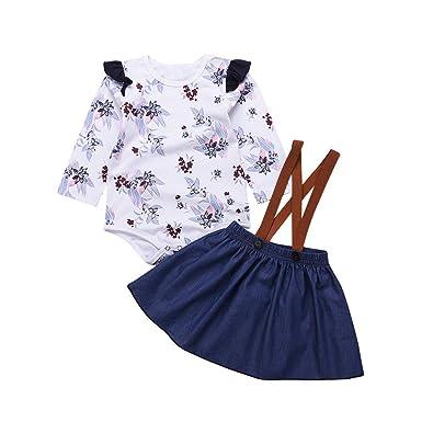 Kobay Babykleid Festlich Neugeborenes Baby Mädchen Floral Strampler Jumpsuit Denim Strap Rock Kleidung Set(