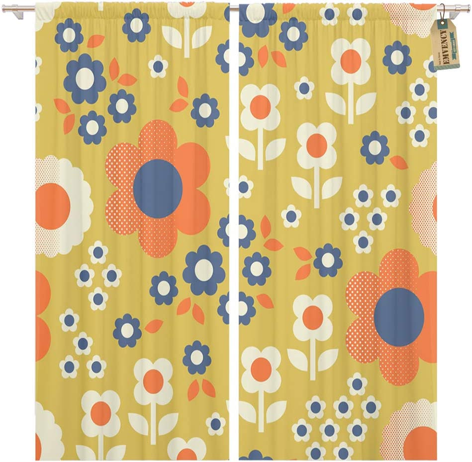 Amazon Com Golee Window Curtain Colorful 60s Retro Pattern Flowers 1960s 70s Floral 1970s Home Decor Pocket Drapes 2 Panels Curtain 104 X 84 Inches Home Kitchen