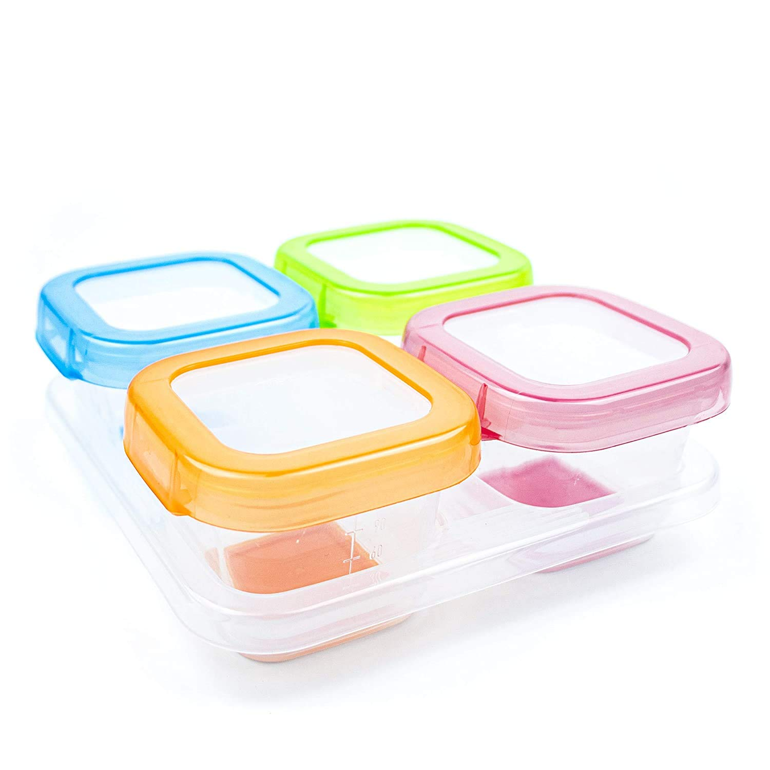 AAMUEE Baby Food Storage, 4 Pcs 4 oz Baby Blocks Food Storage Containers with Lids, Healthy Silicone Freezer Storage, Reusable Leakproof, Microwave/Dishwasher Friendly for Infants/Babies