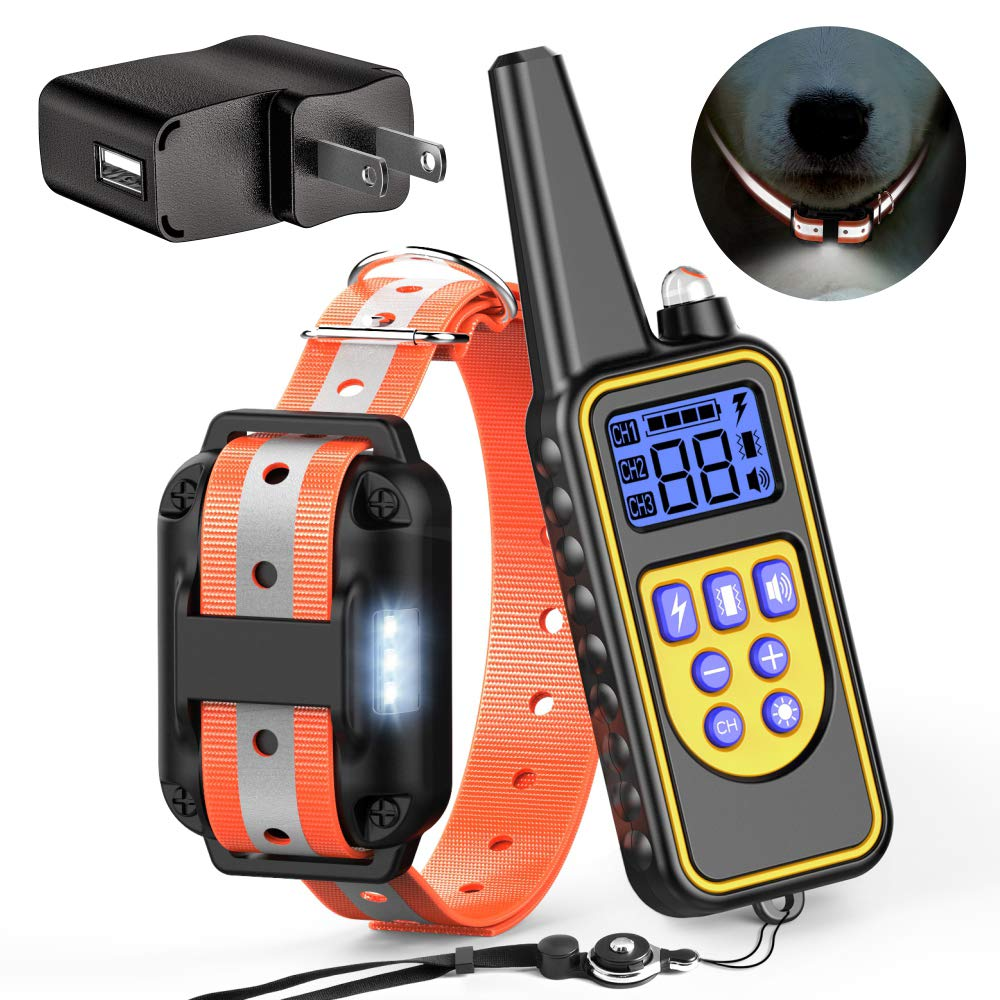 FunniPets Dog Training Collar with Safe Reflective Collar and LED Light, 2600ft Waterproof Dog Shock Collar with Remote for Medium and Large Dogs, 4 Training Modes Light Beep Vibration Static Shock