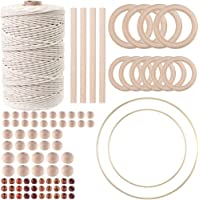 87pcs Macrame Kits for Beginners 3mm x 220yards Natural Cotton Macrame Cord Wall Hanging Kit, Best for Macrame Plant…