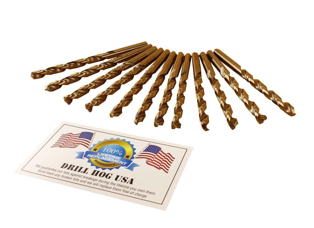 Drill Hog USA 1/4'' Cobalt M42 Drill Bits 12 Pack