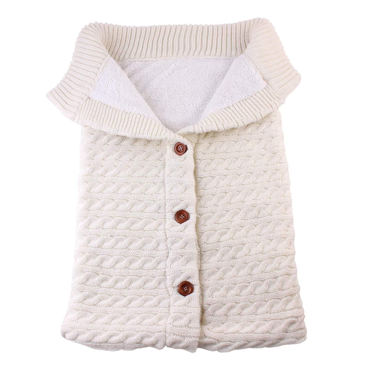 Newborn Baby Swaddle Blanket Stroller Wrap Plus Velvet, Yinuoday Baby Kids Toddler Thick Knit Soft Warm Fleece Blanket Swaddle Sleeping Bag Sleep Sack Stroller for Boys and Girls (Beige)