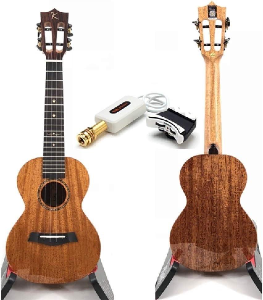 LOIKHGV Guitarras- Ukelele Solid Mahogany Black Blue Acabado con Bolsa ukeleles Hawaii 4 Cuerdas Instrumentos Musicales de Guitarra acústica, con Pastilla A2U, 23 Pulgadas