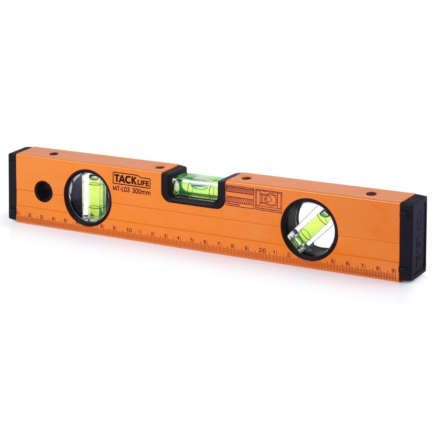 TACKLIFE Level 12-Inch Aluminum Alloy Magnetic Torpedo Level Plumb/Level/45-Degree, Measuring Shock Resistant Spirit Level with Standard and Metric Rulers - MT-L03