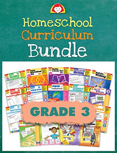 Evan-Moor Homeschool Curriculum Bundle, Grade 3, Complete Set (includes Reading, Writing, Vocabulary, Spelling, Language Arts, Math, Science, and Social Studies) ()