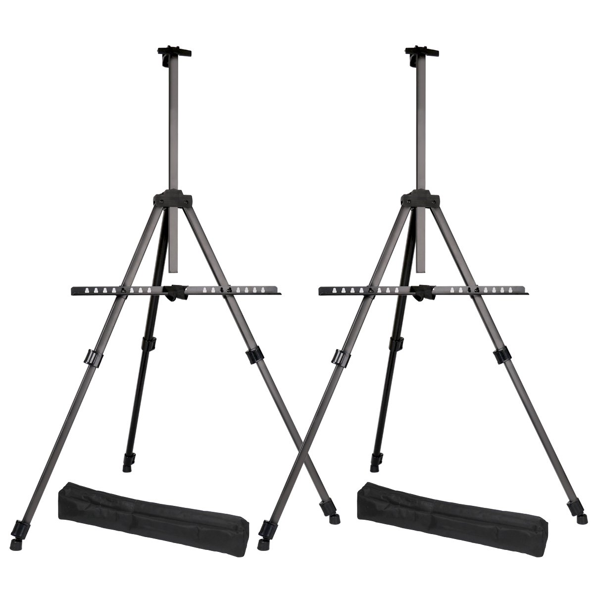 Transon Tripod Aluminum Table Top and Floor Easel Stand 65'' Lightweight Adjustable 2-Pack with Portable Bag (Black)