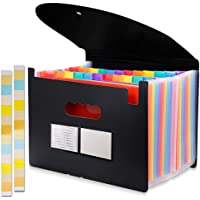 24 Pockets Expanding File Folder with Cover Accordian File Organizer Portable A4 Letter Size File Box,High Capacity…