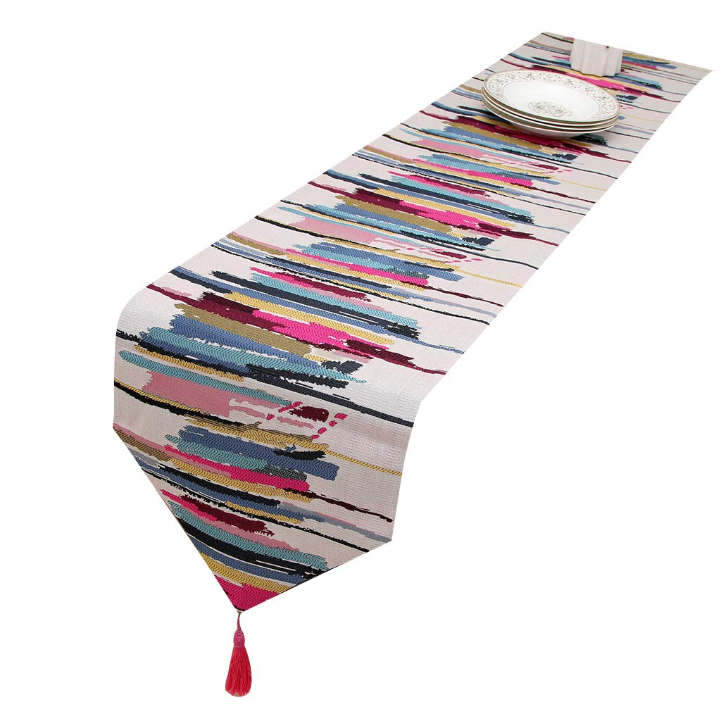EAPTS Stripe Printing Table Runner with Tassels Coffee TeaTable Runners 13x63in Red by EAPTS