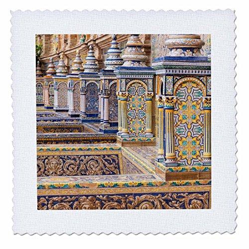 3dRose Danita Delimont - Spain - Spain, Andalusia, Seville. Plaza de Espana ornately decorated. - 22x22 inch quilt square (qs_277899_9) by 3dRose