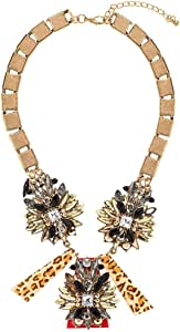 Just Showoff Women's Alloy Flower and Animal Print Necklace