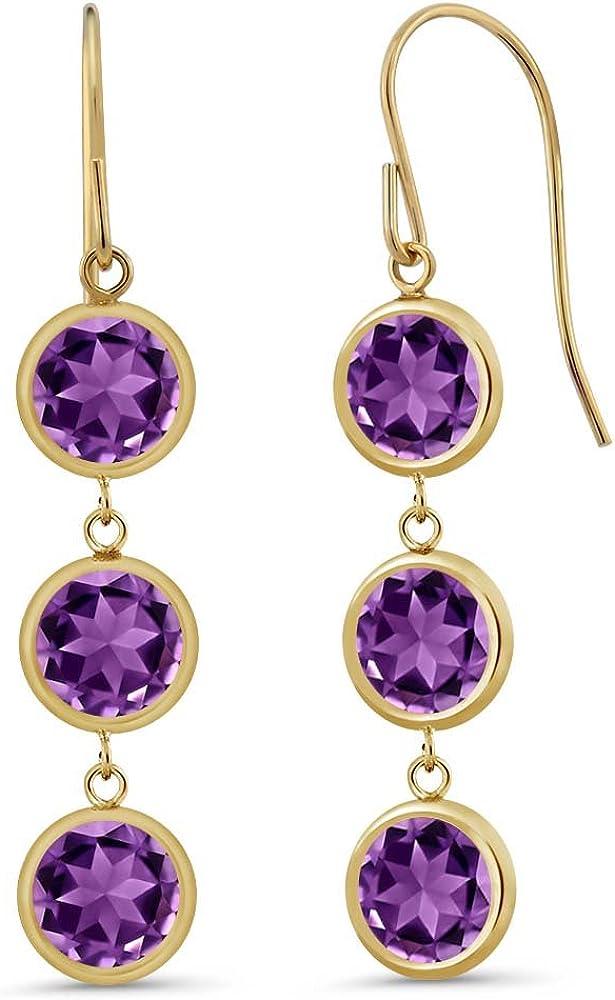 Amethyst dangle pierced earrings