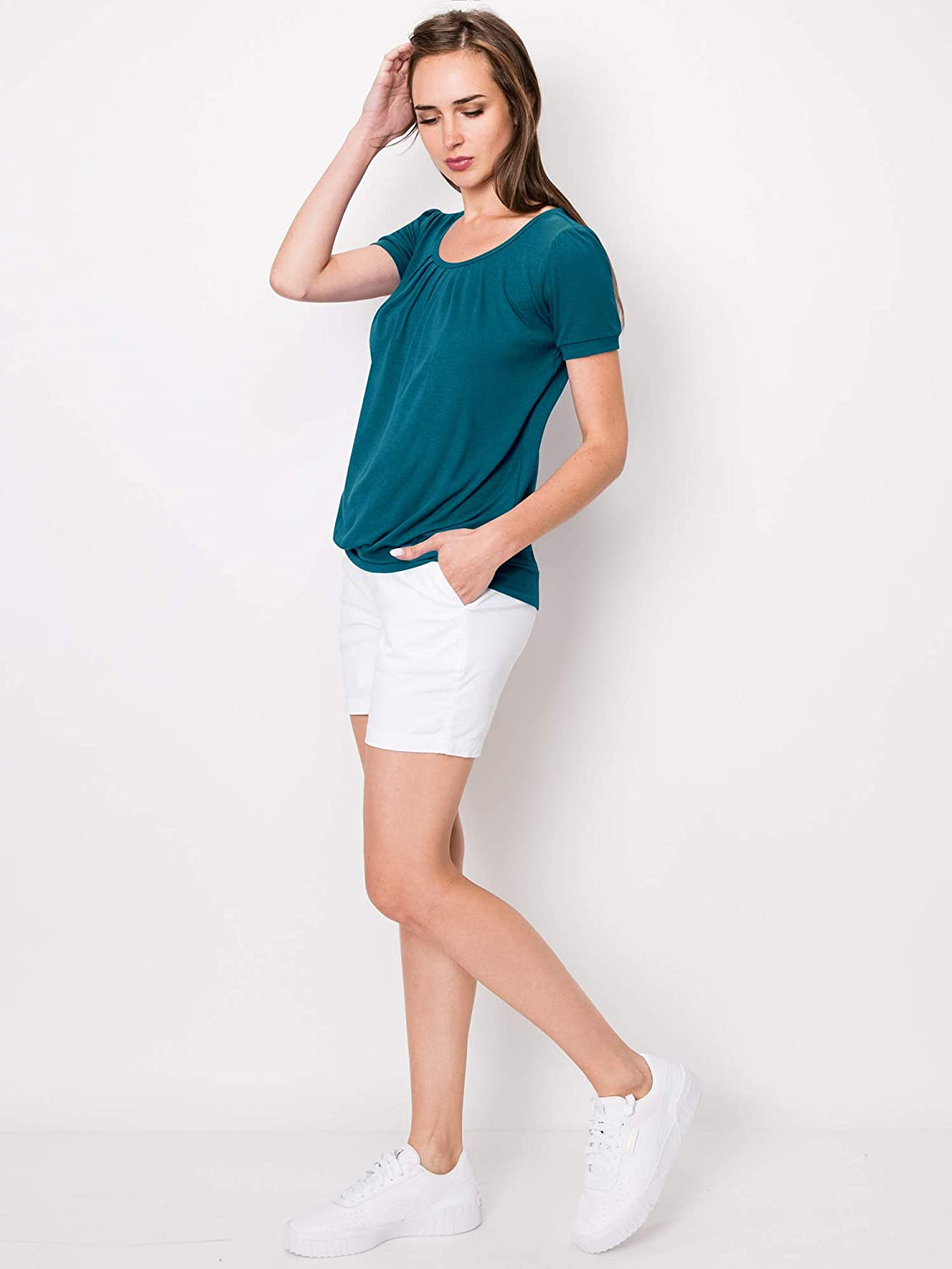 Made By Johnny Womens Scoop Neck Short Sleeve Long Sleeve Front Pleated Tunic S-3XL Plus Size Made in U.S.A.