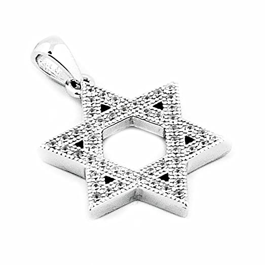 Amazon 6 point star pendant charm sterling silver star david 6 point star pendant charm sterling silver star david with cz 19mm aloadofball Image collections