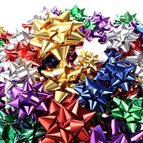 Tatuo 130 Pieces Gift Wrap Bows Christmas Metallic Bows Self Adhesive Gift Bows for Decorating Presents (Multi Color)