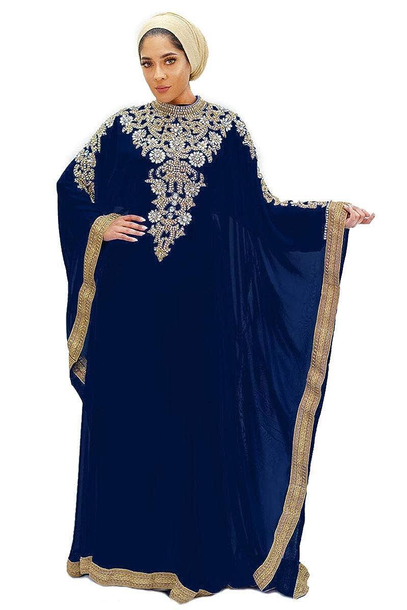 Navy bluee Royal Bliss Kaftan for Women  Long Sleeve Maxi Dress, Formal Gown Evening Dress