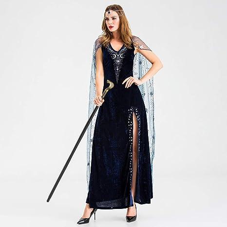 Beonzale damski kostium karnawałowy kostium damski Halloween Cosplay Vintage Style sukienka wiedźma sukienka wieczorowa: Odzież