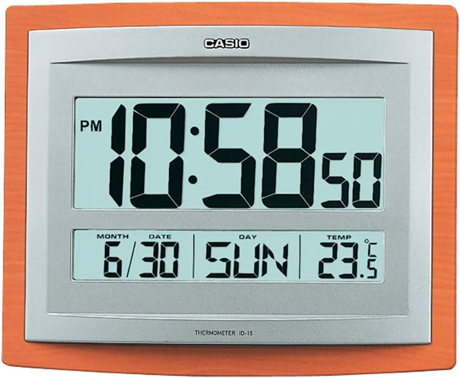 Casio Reloj DE Pared Digital Alarma, Temperatura Y Calendario ID-15S-5DF