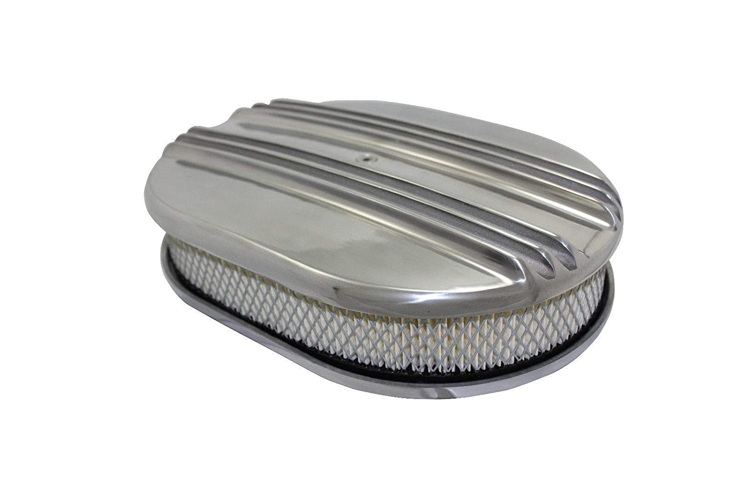 """12/"""" x 2/'/' Oval Half Finned  Polished Aluminum Air Cleaner Classic"""