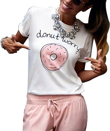 Camiseta Mujer algodón Manga Corta. Camiseta Ropa Moda Mujer ...