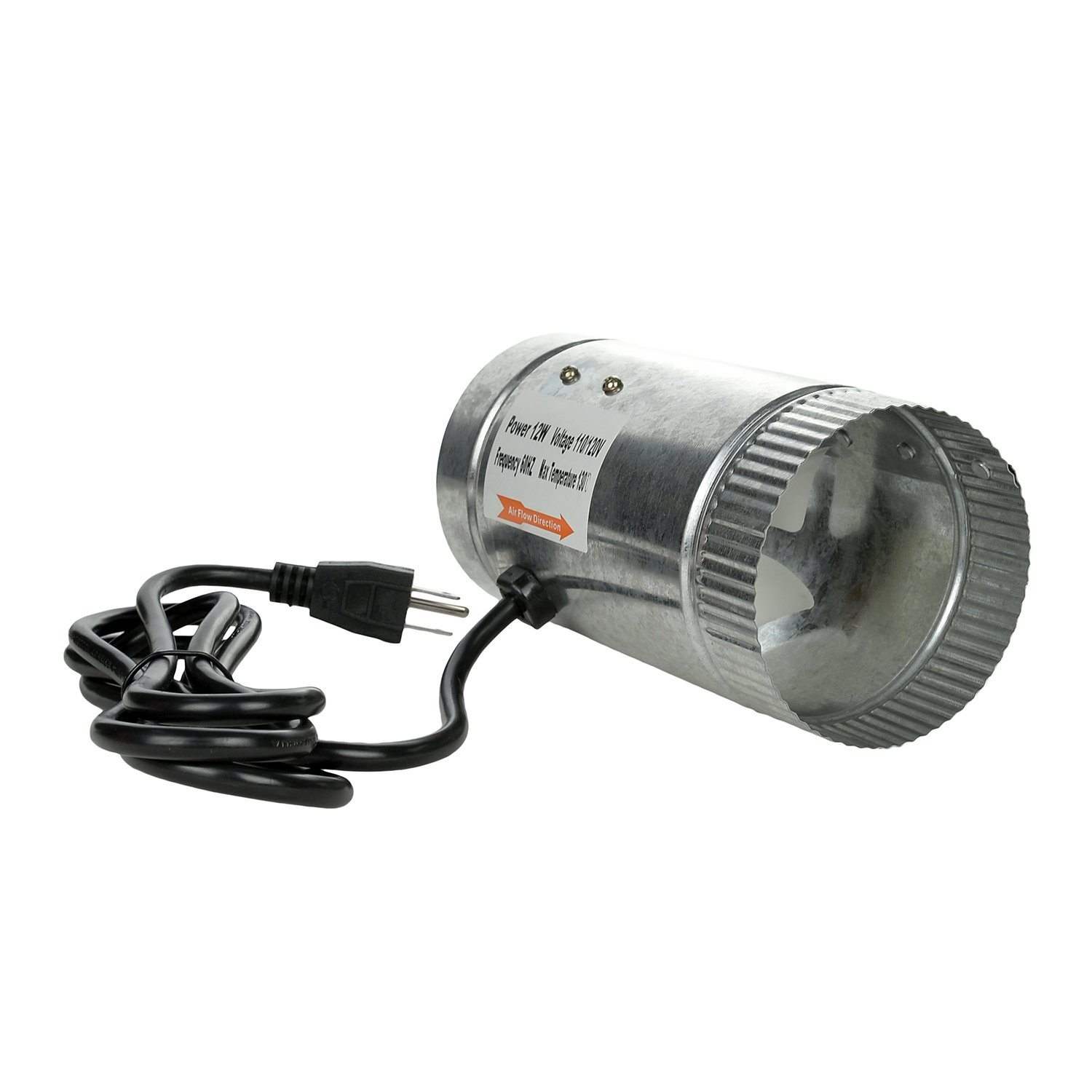 HiHydro 4'' Inline Duct Booster Fan 100 CFM, Low Noise & Extra Long 5.5' Grounded Power Cord (4''/100CFM) by HiHydro (Image #8)
