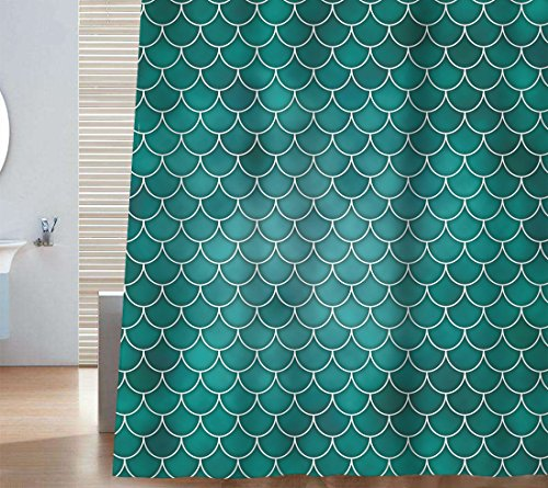 Net Scale (Sunlit Designer Mermaid Tail Scale Geometric Shower Curtain Set PVC Free, Non-toxic and Odorless Water Repellent Fabric. Fairy Tales Ocean Theme Turquoise Bathroom Décor.)