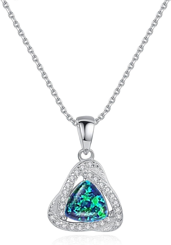 Aartoil - Collar de plata de ley 925 para mujer, diseño de triángulo, diseño de ópalo