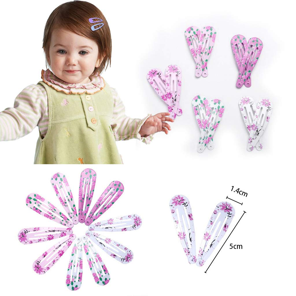 10x Hair Clips Snaps Hairpin Girls Baby Kids Hair Bow Accessories Gift Decor