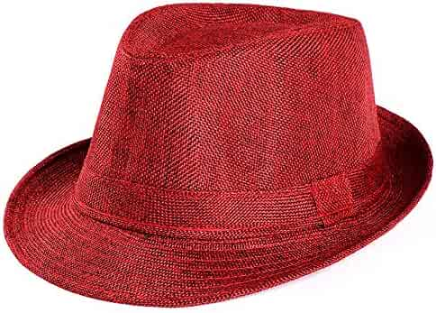 6ebda4a6212c04 Mens Fedora Hats for Men - Fedora Hat Panama Hat Beach Sun Straw Hat Trilby  Hat