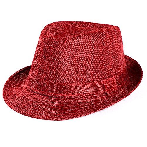 Unisex Summer Beach Straw Hat Trilby Gangster Cap Sun Protection Retro Hat Breathable Short Brim Hats (Wine)