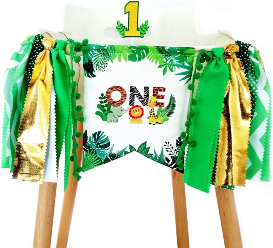 Geburtstag Deko Baby Geburtstagskrone Dschungel Kuchen Cupcake Topper Baby Leinen Hochstuhl Banner f/ür Babparty Baby Boy 1 Jahr Geburtstagsdeko Amosfun Baby 1
