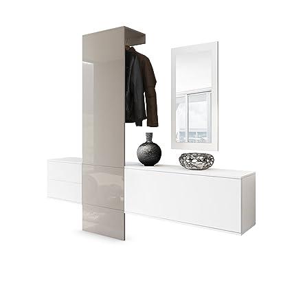 Vladon Vestiaire Garderobe Carlton Set 1, Corps en Blanc Mat/Panneau  portemanteau en Gris Sable Haute Brillance
