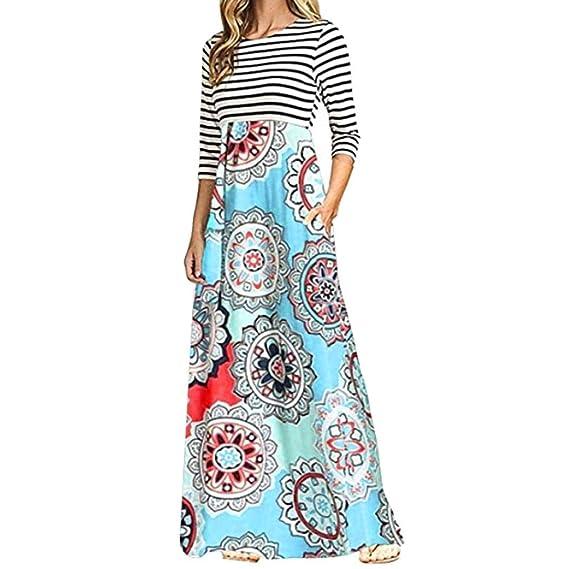 Vestido Largo a Rayas Mujer,Vestido Maxi Largo Bohemio de Bolsillo de Patchwork