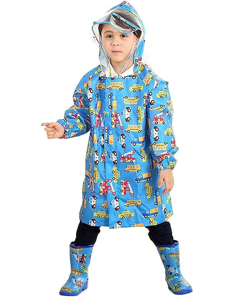 Suncaya Bambini Impermeabile Pioggia con Cappuccio per Ragazzino Bambina Protegge Lo Zaino