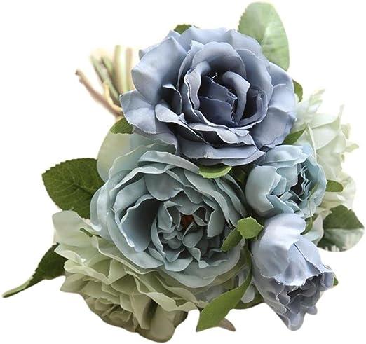 hlhn flores artificiales falsos rosa ramo Floral Decoración Bonsai para oficina hogar escritorio cuadros jardín boda ramos al aire libre fiesta: Amazon.es: Hogar