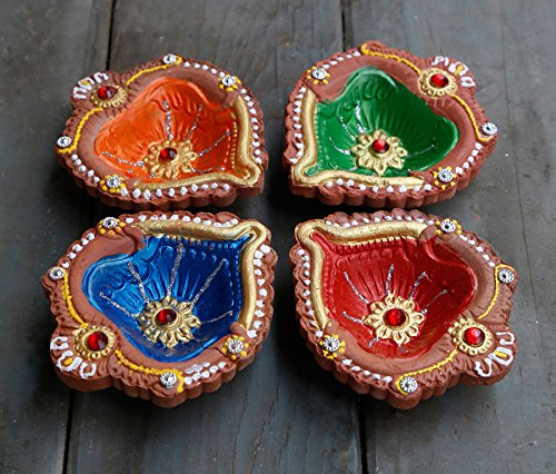 Set of 4 Diyas Handmade Decorative Diwali Clay Store Indya, Set of 4 Handmade Earthen Clay Terracotta Decorative Diyas,Oil Lamps With Rhinestone (Jewel For Pooja) (Multicolor 13) by storeindya