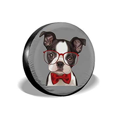 "Dizzy-K Boston Terrier Spare Tire Cover Polyester Waterproof Adjustable Universal Portable Wheel Covers Fits for Jeep Trailer RV SUV Truck Camper Travel Trailer Accessories (14"" 15"" 16"" 17""): Clothing"